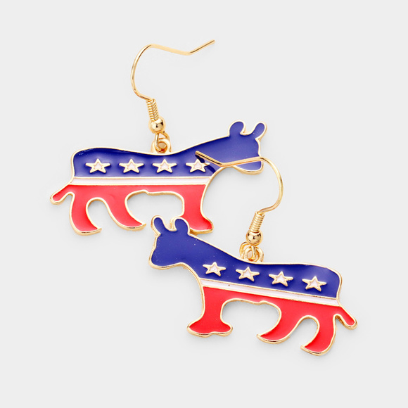 Jewelry Patriotic Metal Donkey Dangle Earrings Poshmark